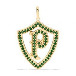 PINGENTE PALMEIRAS GRANDE VAZADO COM P - OURO 18K - PEDRA NATURAL (ESMERALDA)