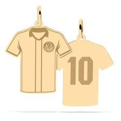 Pingente Camisa Listrada 10 Com Logo - Ouro 18k + Certificado de Garantia