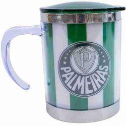 Caneca térmica com tampa 450ml listrada verde e branco - Sociedade Esportiva Palmeiras