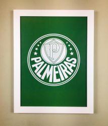 Quadro Palmeiras Verde/Coroas com Vidro 40cm