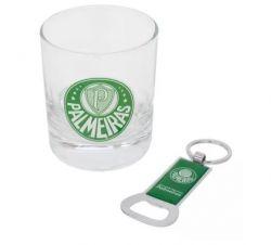 Copo Vidro Whisky com Chaveiro Abridor Garrafas 250ml - Palmeiras