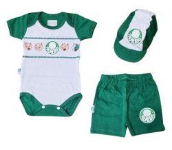 Conjunto Bebê Palmeiras Body Shorts e Boné